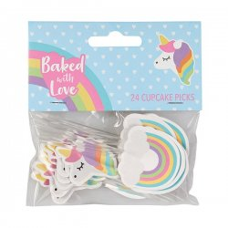 Cupcake toppers Unicorn & Rainbow 24 st