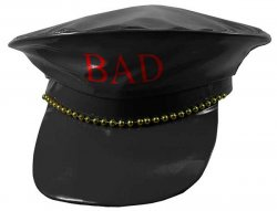 Fake Leather Police Hat Black