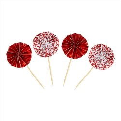 Cupcake toppers Red Foil 8 st