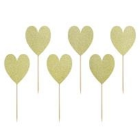 Cupcake toppers Gold Heart
