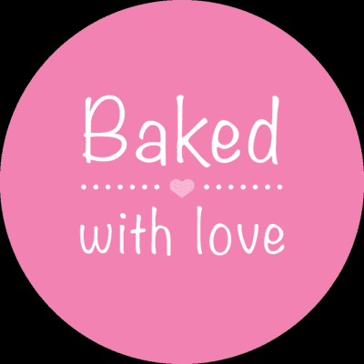Etikett Baked with love 10 st