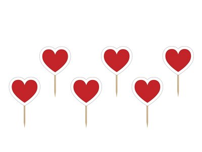 Cupcake toppers Red Hearts