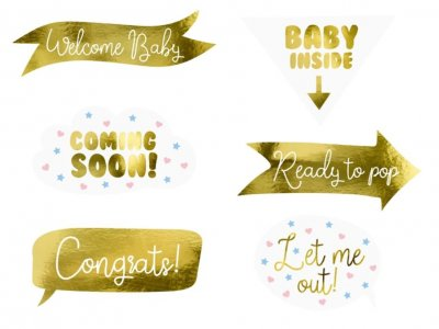 Party Props Babyshower guld