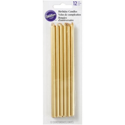 Wilton tall candles gold